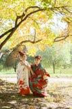 Moder och dotter i en kimono som går i parkera Arkivbild