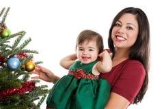 Moder och dotter på jul royaltyfri bild