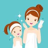 Moder och dotter som är lyckliga med rena framsidor royaltyfri illustrationer