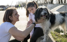 Moder och dotter som spelar med hunden royaltyfri fotografi