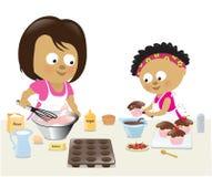 Moder- och dotterbakning vektor illustrationer