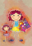 Moder- och dottershopping för flygillustration för näbb dekorativ bild dess paper stycksvalavattenfärg Arkivbild