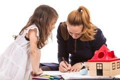 Moder- och dotterteckning royaltyfri bild
