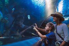 Moder och son som går i inomhus enorm akvariumtunnel och att tycka om undervattens- invånare för ett hav som visar intressera til arkivbilder