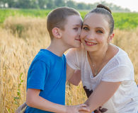 Moder och son som kramar bland vetefält royaltyfria bilder