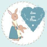 moder s för kortdaghälsning royaltyfri illustrationer
