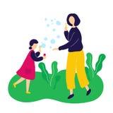 Moder som bl?ser s?pbubblor med den utomhus- dottern stock illustrationer