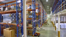 Moder warehouse, storage facility. Aerial shot in 4K. stock footage