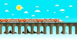 Moder-Zug auf alter Brücke über Meer Stockfotos