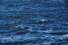 Moderately rough sea, deep blue hue. A detail of a moderately rough sea, deep blue colour, with the foam of the waves, usefull as a background, landscape cut royalty free stock image