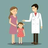 Moderdotter och doktor royaltyfri illustrationer
