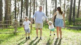 Moderfadern och små barn som tycker om familjen för naturen i sommar, parkerar tillsammans arkivfilmer