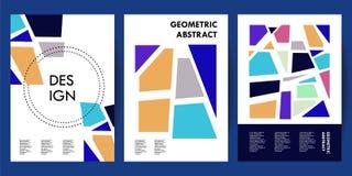 Moderiktig affischräkningsmall med abstrakta samlingar för memphis geometriska stiluppsättning stock illustrationer