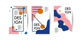 Moderiktig affischräkningsmall med den abstrakta illustrationen för vektor för samlingar för memphis geometriska stiluppsätt stock illustrationer