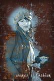 Moderiktig caucasian kvinna, text i foto Arkivbilder