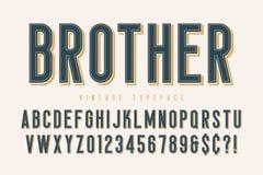Moderiktig design för tappningskärmstilsort, alfabet, stilsort royaltyfri illustrationer
