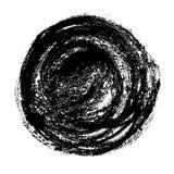 Moderiktig dragen grafisk cirkel för grunge hand Sjaskiga borsteslaglängder och textur Svart färgpulver isolerad vektorform royaltyfri illustrationer