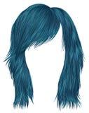 Moderiktig färg för kvinnahårblått medellängd Två dekorativa baner Arkivbild