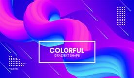 Moderiktig färgrik bakgrund 3d Våg fluid Shape royaltyfri illustrationer