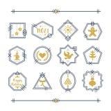 Moderiktig guld- och marinblå linje julemblem- och motivuppsättning royaltyfri illustrationer