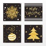 Moderiktig guld- stilkortuppsättning för jul och nytt år Fotografering för Bildbyråer