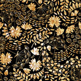 Moderiktig guld- textur Guld- sömlös modell för vektor, blom- textur med blommor och växter Arkivfoton