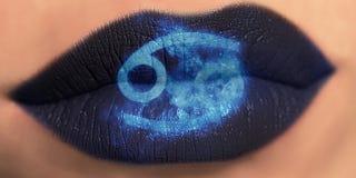 Moderiktig idérik kantmakeup Skinande glansig kantcancer för Closeup royaltyfria foton