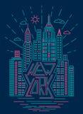 Moderiktig illustration för New York översiktsdesign Royaltyfri Bild