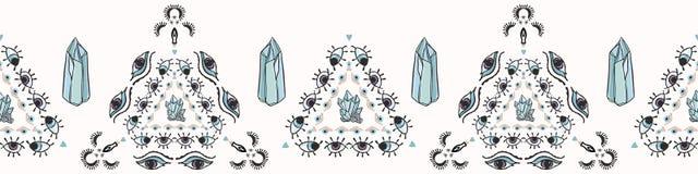 Moderiktig kvarts Crystal Magic Seamless Vector Border stock illustrationer