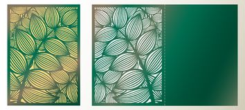 Moderiktig laser klippt dekorativ vektormall Lyxig hälsningbil royaltyfri illustrationer