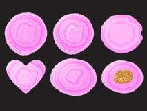 Moderiktig lila färg för fastställd stenskiva Runda som är oval, hjärtaform Vektorillustration som isoleras på svart vektor illustrationer