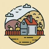 Moderiktig logotyp med lantbrukarhem- eller ranchhuset och kullar som täckas med kultiverade fält Rund logo med lantligt landskap stock illustrationer