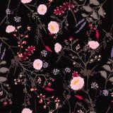 Moderiktig mörk blom- modell i många sort av blommor tropiskt Arkivfoto