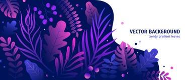 Moderiktig naturlig horisontalbakgrund med lutning färgade frodig tropisk vegetation, exotiska sidor eller djungellövverk och vektor illustrationer