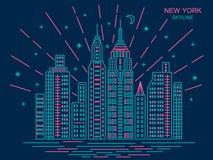Moderiktig New York horisont Royaltyfri Foto