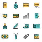 Moderiktig plan linje symbolspacke för formgivare och bärare Vektorlinje affärssymbolsuppsättning stock illustrationer
