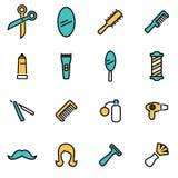 Moderiktig plan linje symbolspacke för formgivare och bärare Vektorlinje barberaresymbolsuppsättning stock illustrationer