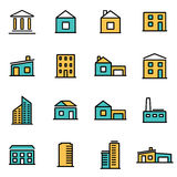 Moderiktig plan linje symbolspacke för formgivare och bärare Vektorlinje byggnadssymbolsuppsättning stock illustrationer