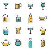 Moderiktig plan linje symbolspacke för formgivare och bärare Vektorlinje drycksymbolsuppsättning royaltyfri illustrationer