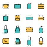 Moderiktig plan linje symbolspacke för formgivare och bärare Vektorlinje påsesymbolsuppsättning royaltyfri illustrationer