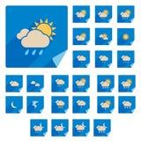 Moderiktig plan vädersymbolsuppsättning med lång skugga vektor illustrationer