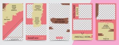 Moderiktig redigerbar mall för sociala nätverksberättelser, instagramberättelser, vektorillustration Designbakgrunder för socialt vektor illustrationer