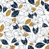 Moderiktig sömlös modell för vektor med botaniska beståndsdelar i tappningstil Magnolian blommar, slår ut och sidor i djupblått o stock illustrationer
