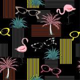 Moderiktig sömlös modell med dendrog flamingo, palmträd som sjungas stock illustrationer