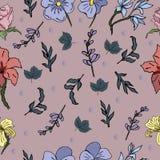 Moderiktig sömlös vektormodell med härliga blommor för din design royaltyfri illustrationer