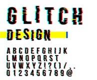 Moderiktig stil förvriden tekniskt felstilsort Bokstäver och nummervektorillustration Tekniskt felstilsortsdesign stock illustrationer