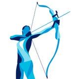 Moderiktig stiliserad illustrationrörelse, bågskytt, sportbågskytte, linje vektorkontur av Royaltyfri Foto