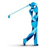 Moderiktig stiliserad illustrationrörelse, golfspelare, golfare, linje vektorkontur av Royaltyfri Bild