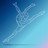 Moderiktig stiliserad illustrationrörelse, lockig gymnastik, akrobatik, linje konstvektorkontur som isoleras på lutning Arkivbild