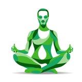 Moderiktig stiliserad illustrationrörelse, yoga poserar, den praktiserande meditationen för den unga kvinnan, linjen vektorkontur Arkivfoto